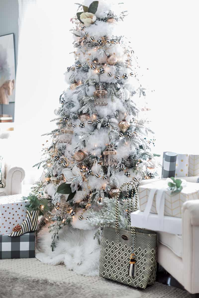 black and white christmas tree