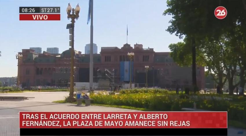 Tras acuerdo entre Alberto Fernández y Larreta, sacaron las rejas de Plaza Mayo