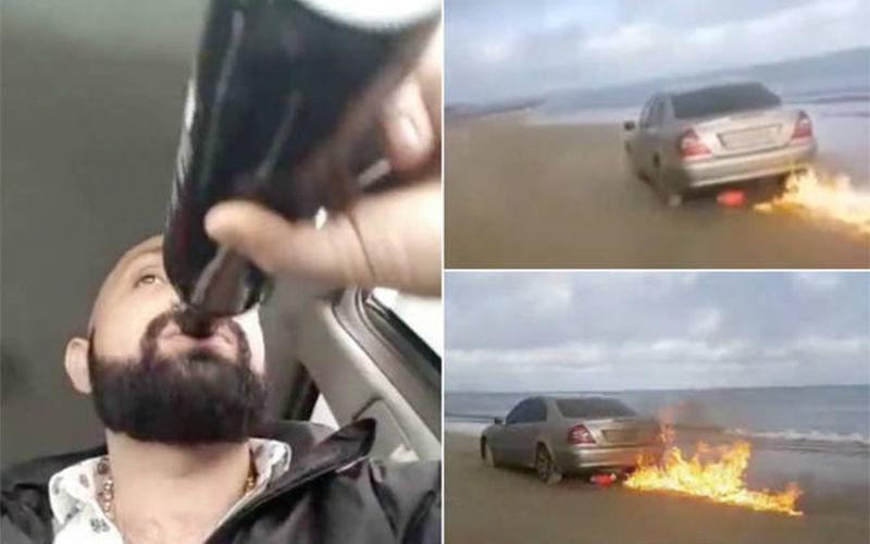 O rapaz colocou fogo no carro para se desculpar com a ex-mulher.