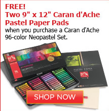 Free 2 9x12 Caran d'Ache Pastel Paper Pads with a purchase of Caran d'Ache 96-color Neopastel Set