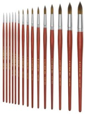 Blick Master Kolinsky Sable Long Handle Brushes, Round, Size 6 (3 mm x 19 mm)