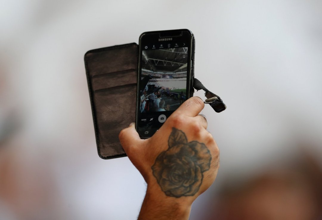 Phone camera pointed at Wembley during Championship play-off final