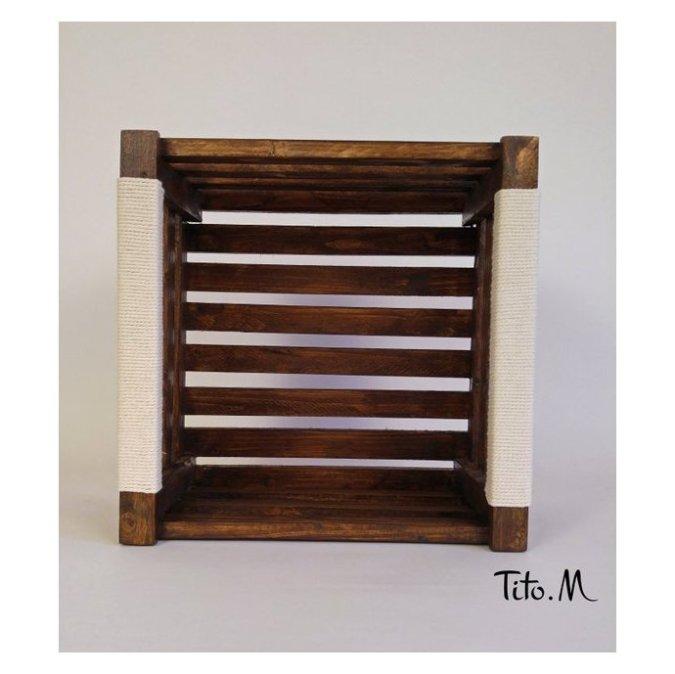 caisse en bois rangement livres bibliotheque lasuree poignees 100 coton 30 30cm