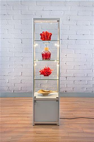 Lighted Silver Tower Display Case 3 Glass Shelves