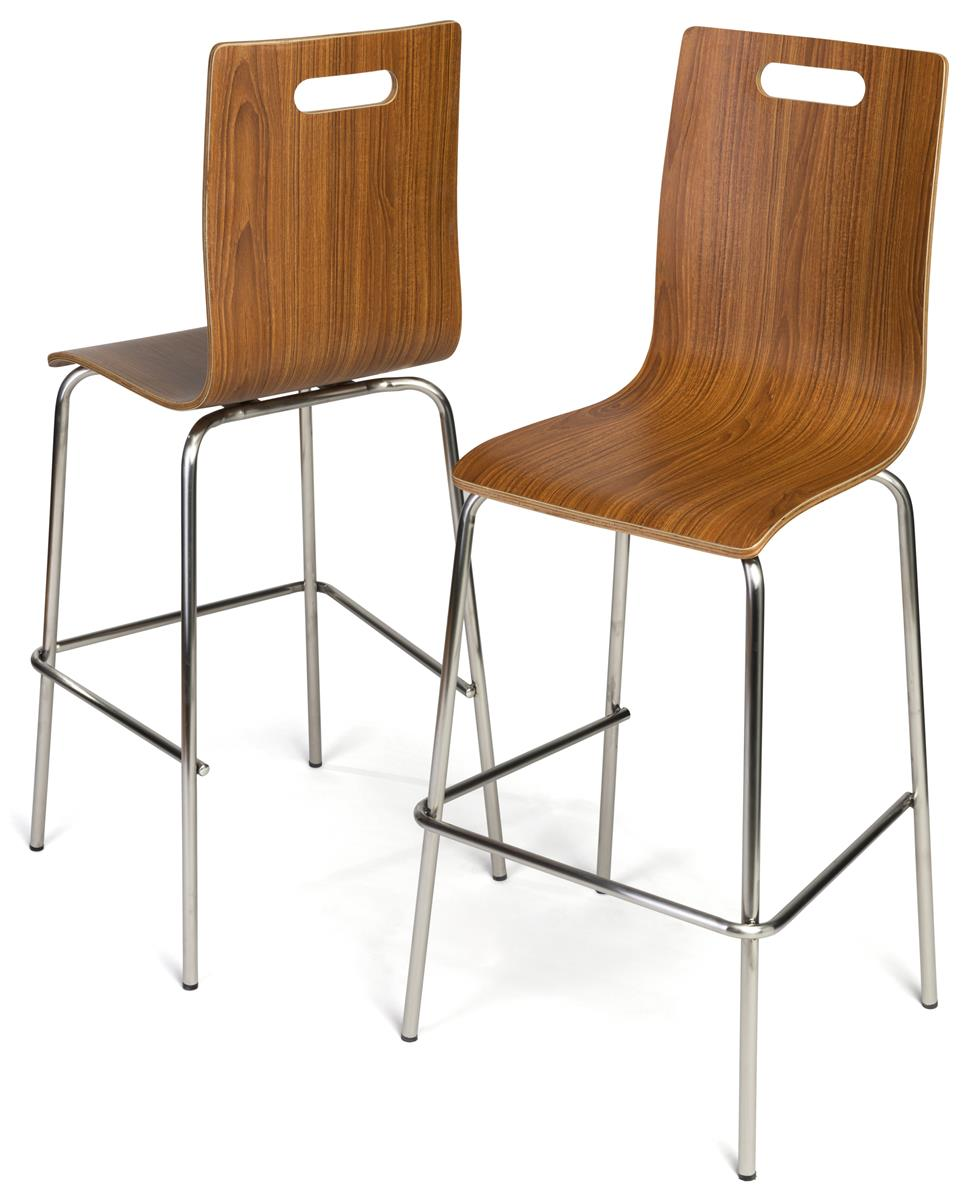 28 5 Bentwood Chair W Stainless Steel Legs Set Of 2 Dark Finish