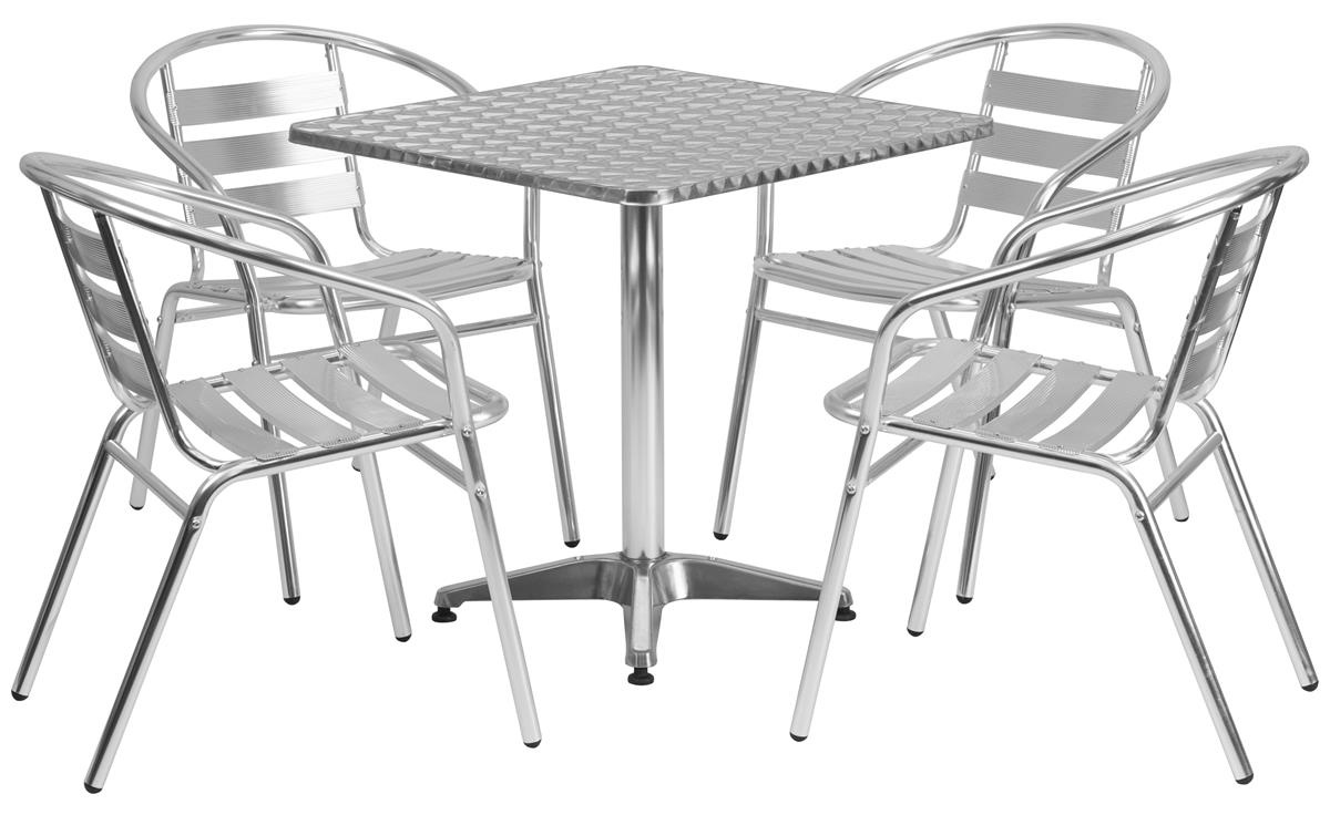 Flash Furniture Dining Set W 28 H Square Table Outdoor Rated 4 Metal Chairs