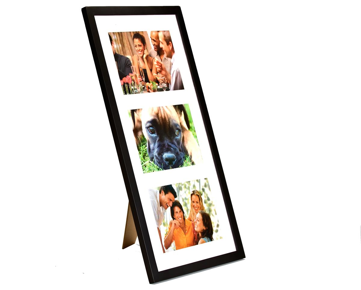 3 Opening Wood Picture Holder 5 X 7 Black Matted