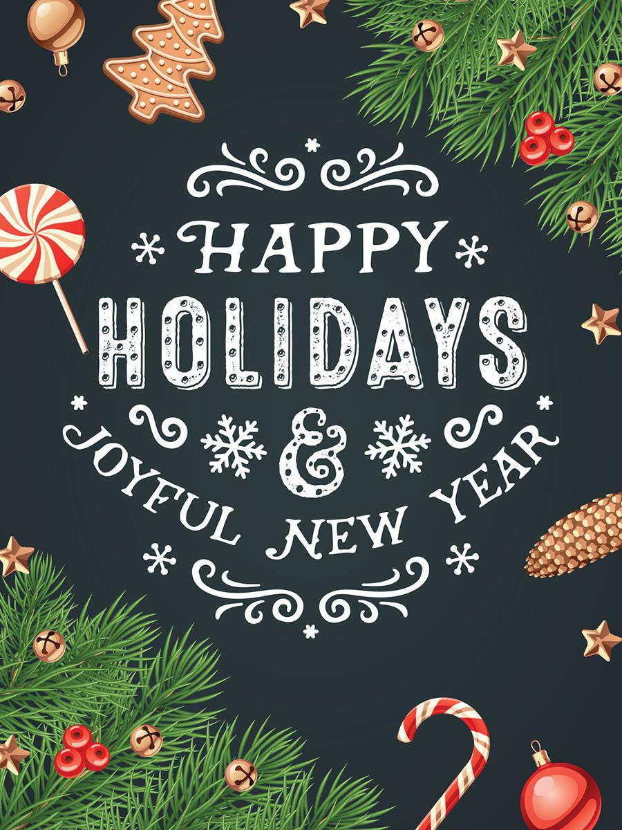 Seasonal Boutique Window Poster Happy Holidays Text