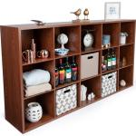 Wooden Cube Display 15 Storage Cubes Brown