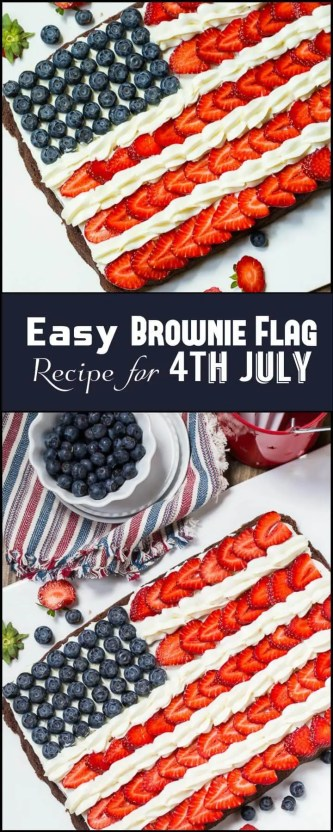DIY Easy Brownie Flag Recipe for 4Th July