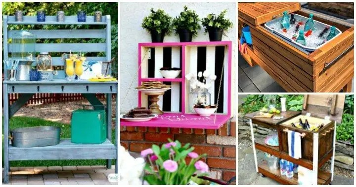 25 DIY Outdoor Serving Stations Table Cart Bar DIY