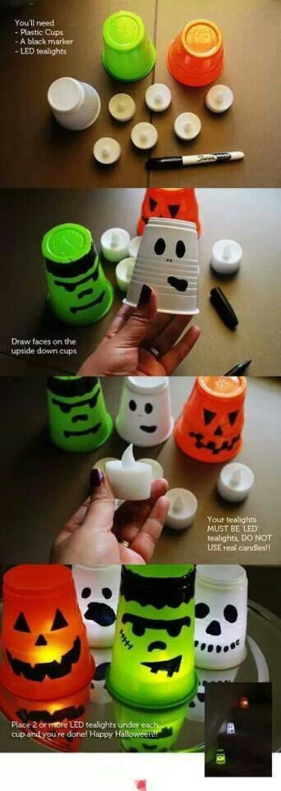 Spooky Halloween Candle Light Cups