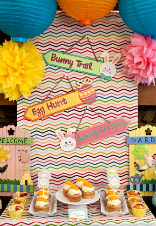Chevron Party Décor - 80 Fabulous Easter Decorations You Can Make Yourself
