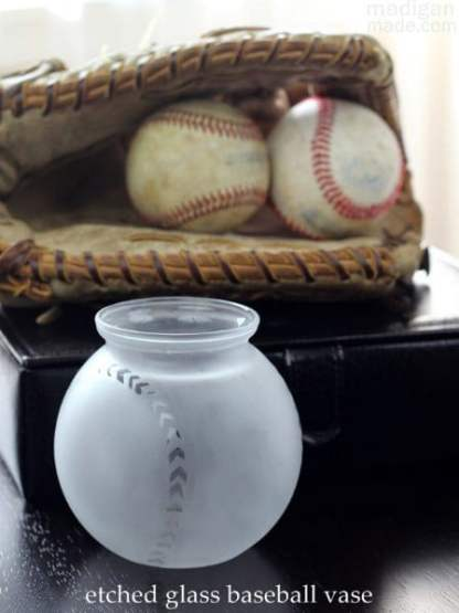 Baseball Glass Vase