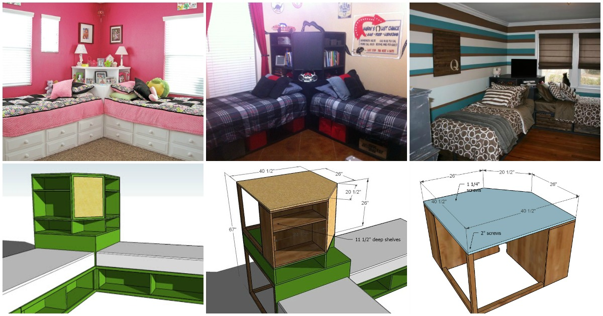 How To Build A Corner Unit For Twin Storage Beds Diy Crafts