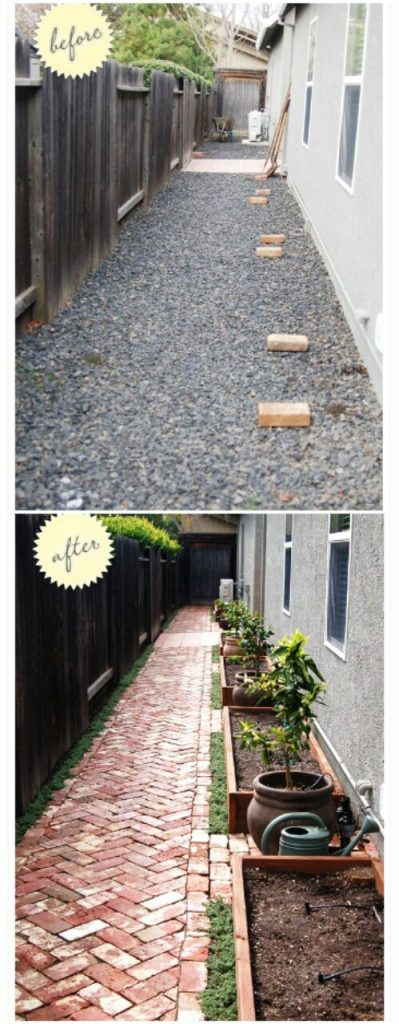 small garden design with bricks see