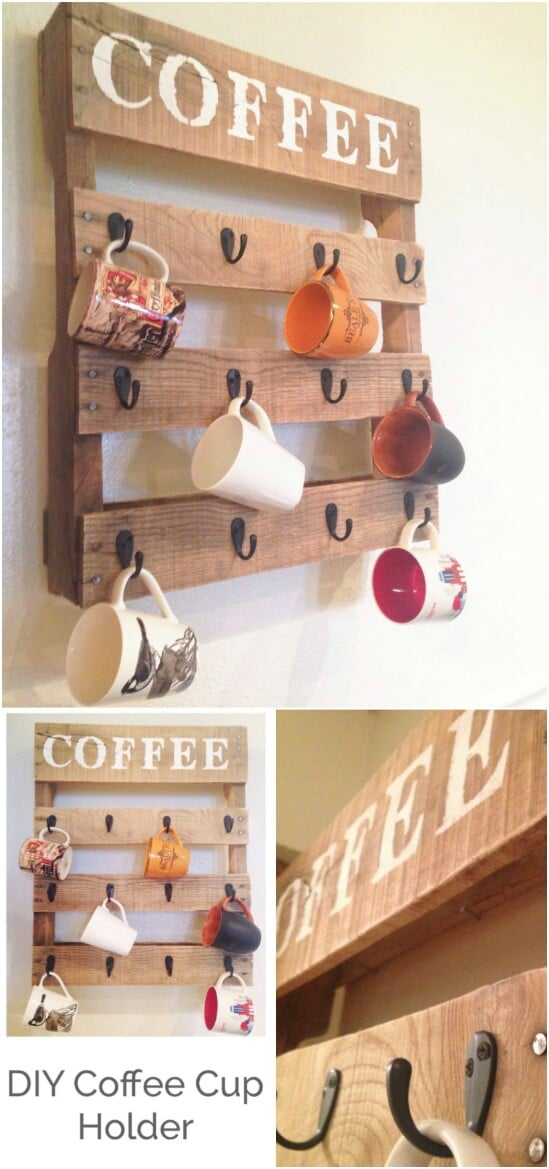 2 coffee cup pallet holder diyncraftscom farmhouse furniture collection
