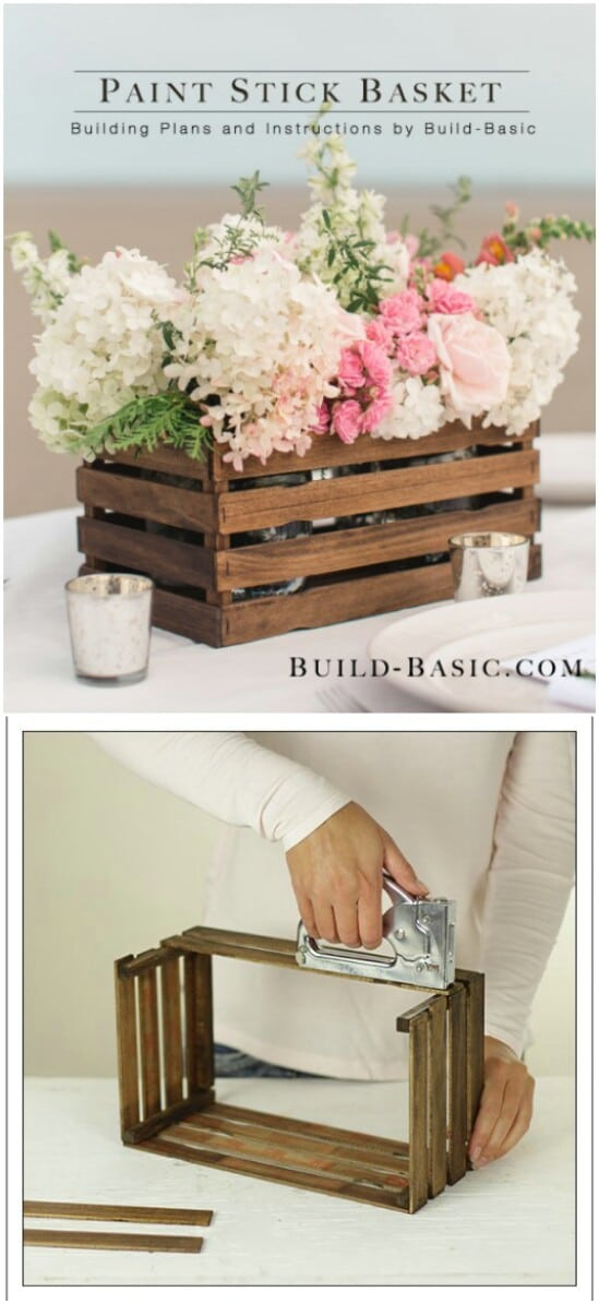 32 paint stick basket diyncraftscom farmhouse furniture collection