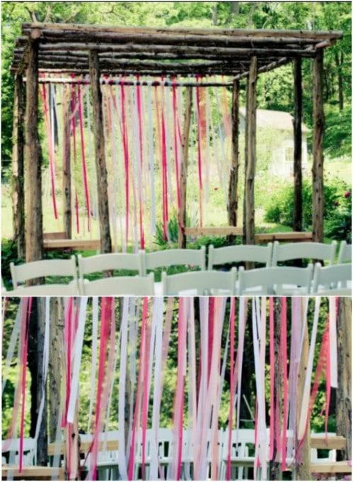 DIY Rustic Ribbon Backdrop