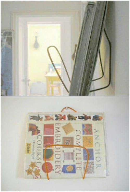Repurposed Wire Hanger Book Holder
