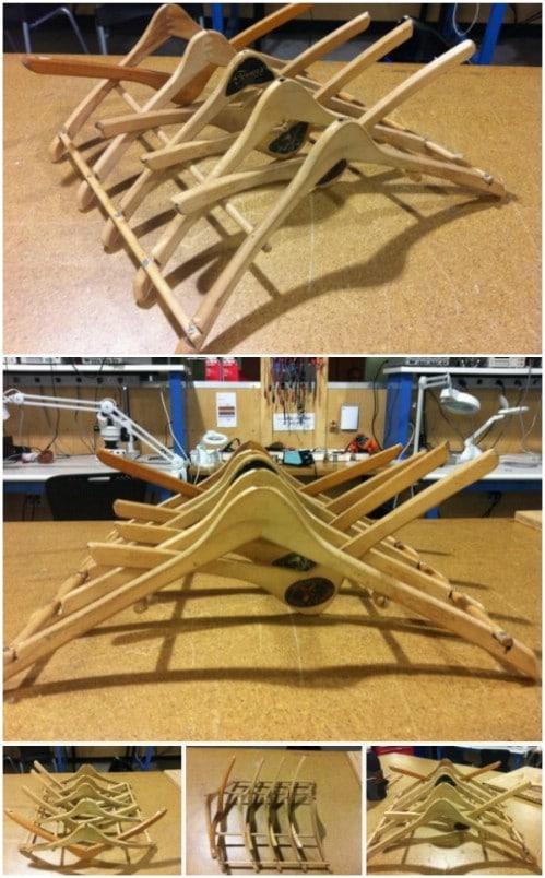 Repurposed Wooden Hanger Dish Drainer