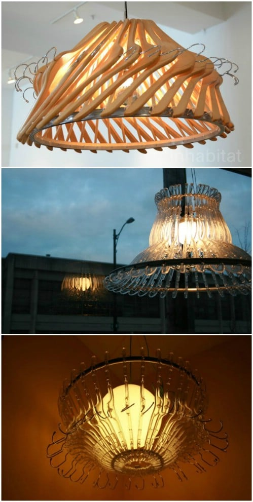 Upcycled Wooden Hanger Chandelier