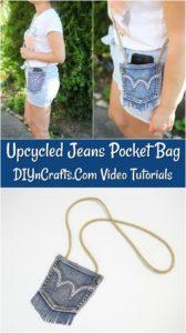 Denim Bag Upcycled Jeans Pocket Tutorial