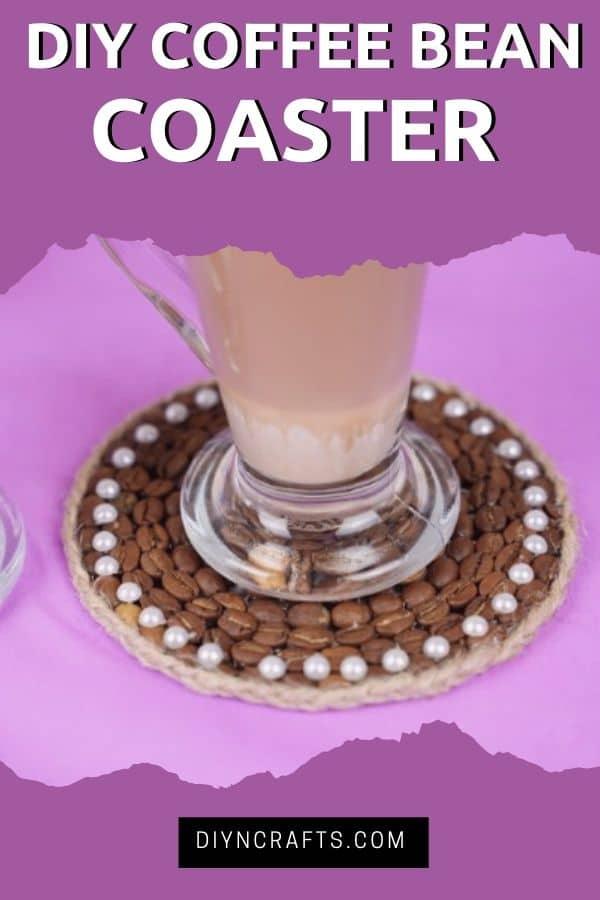 Coffee coaster on purple table