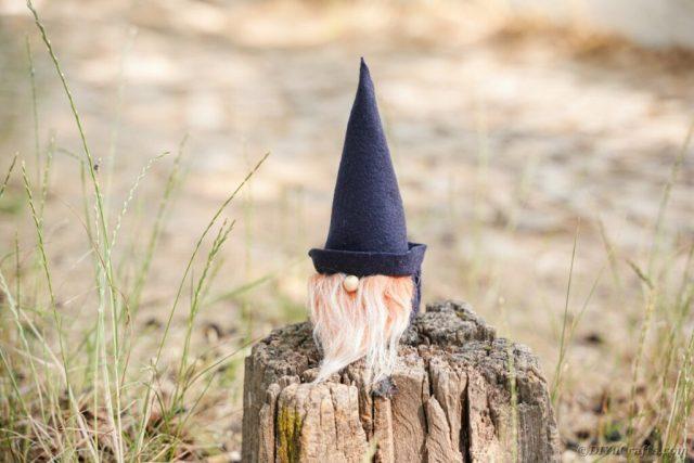 Ağaç kütüğü üzerinde gnome