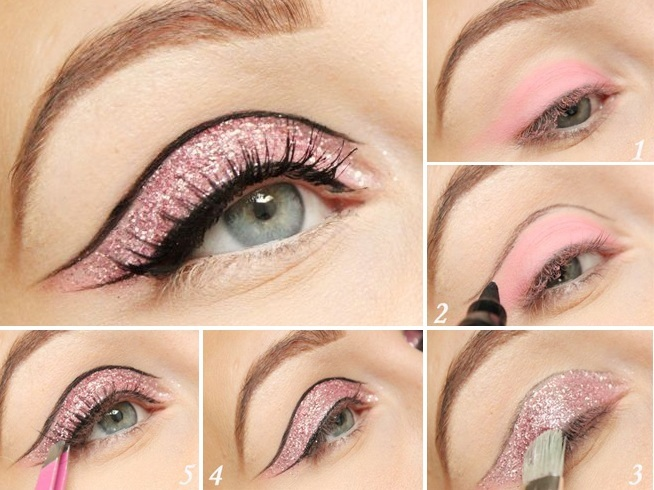 Soft pink glitter and a solid crease