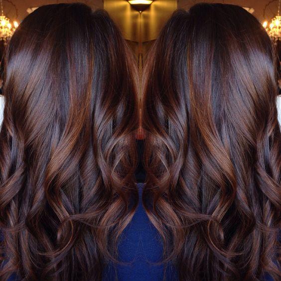 Dark red brown black balayage hairstyle