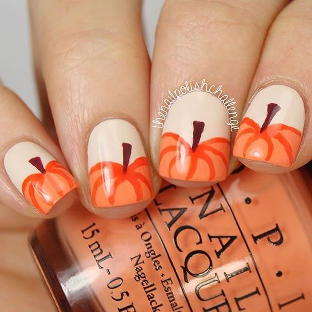 Diy Pumpkin Nail Art Design
