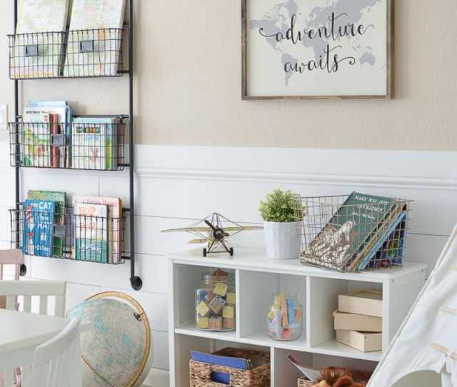 Beige Wall Color Farmhouse Play Room