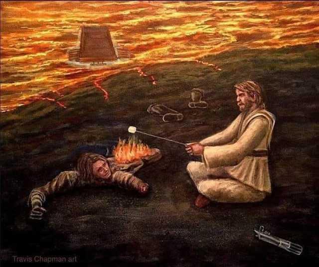 Dopl3r Com Memes Obi Wan Making A Bonfire With Anakin