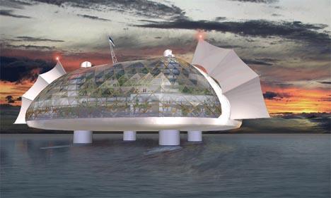 futuristic floating city design