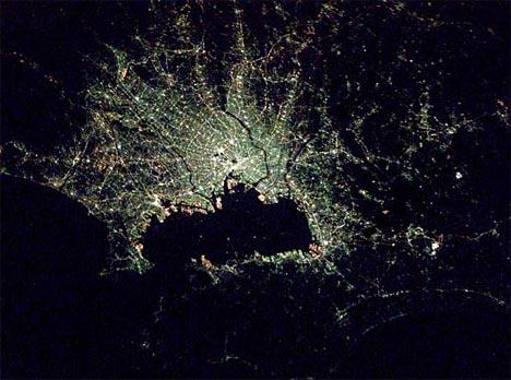 city tokyo aerial night