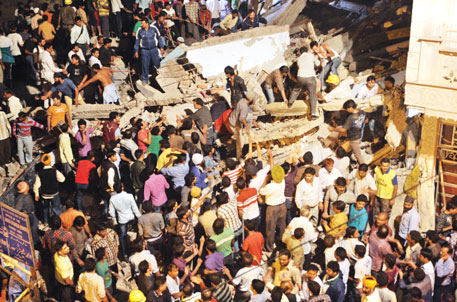 A house in Delhi that had foundation for single storey fell after six storeys were added to it (Photo: Bobby)