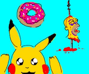 Homers Head Is A Pikachu Drawception
