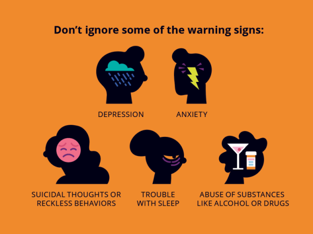 Warning Signs person infographic icons people vector icon illustration silhouette alcohol sadness trouble anxiety abuse depression emotions