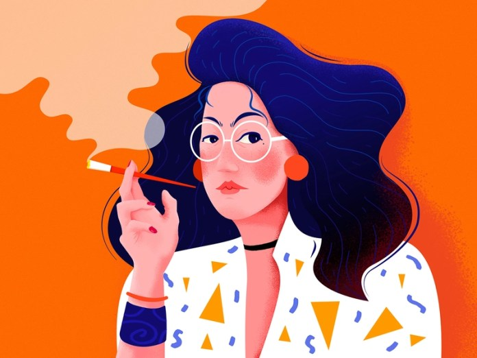 Image result for woman smoke illustration