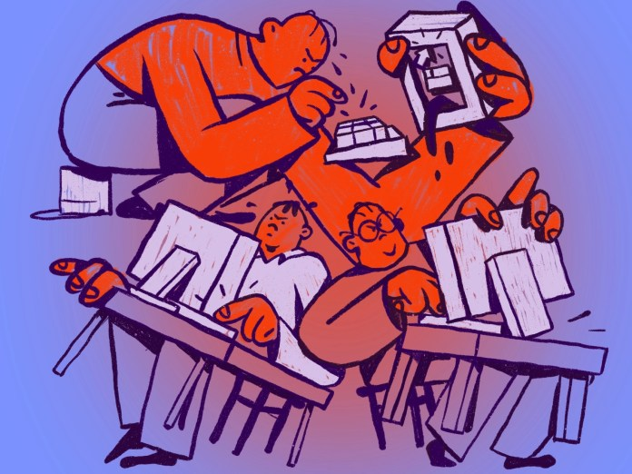 Tempers Flare human office computer design work hand drawn style color stress angry creative emotion character expressive emotional light inspiration illustration experiment zajno