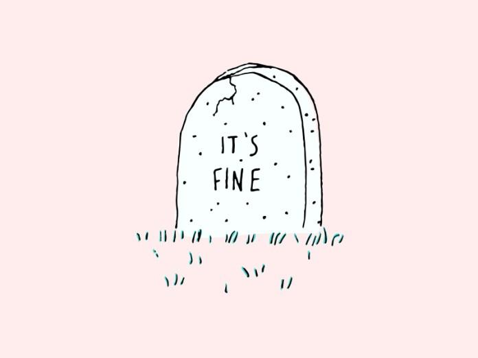 It's Fine stress pink rip illustration