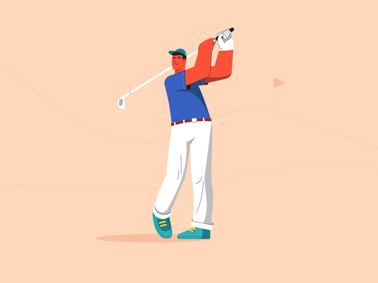 Golfer flat champion golf player design creative illustration draw
