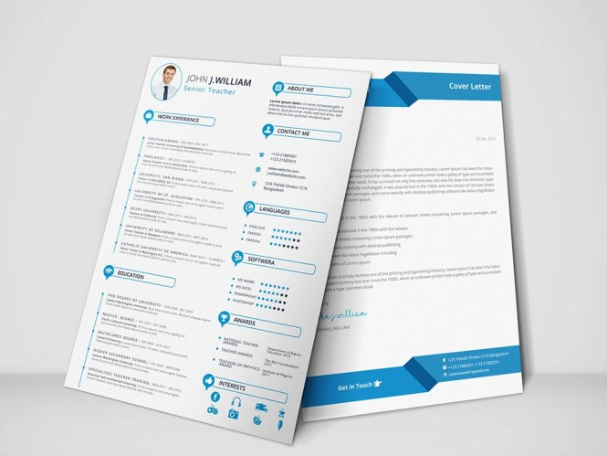 Free Teacher Resume Template With Cover