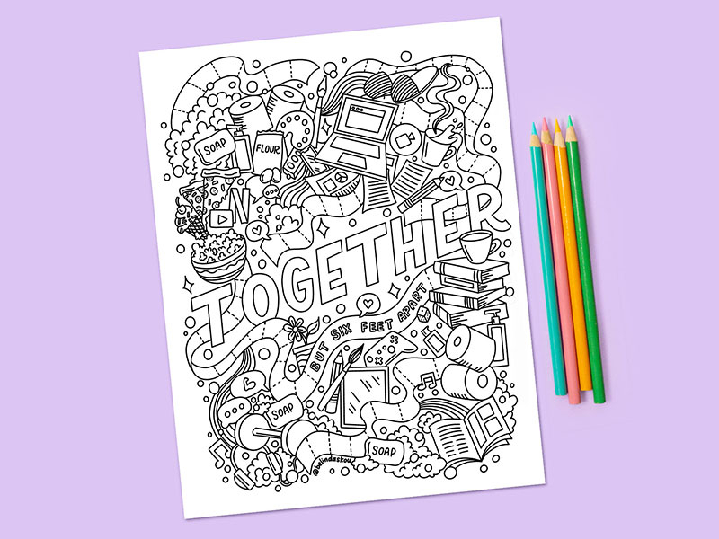 Stay Home Color A Collection Of Free Coloring Pages To Help You Relax Dribbble Design Blog