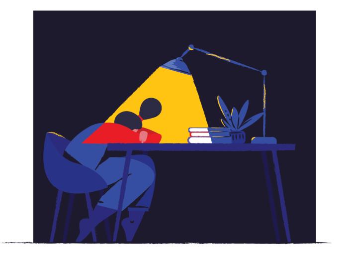 not good night vector illustration exams study student hard work working sleep work night