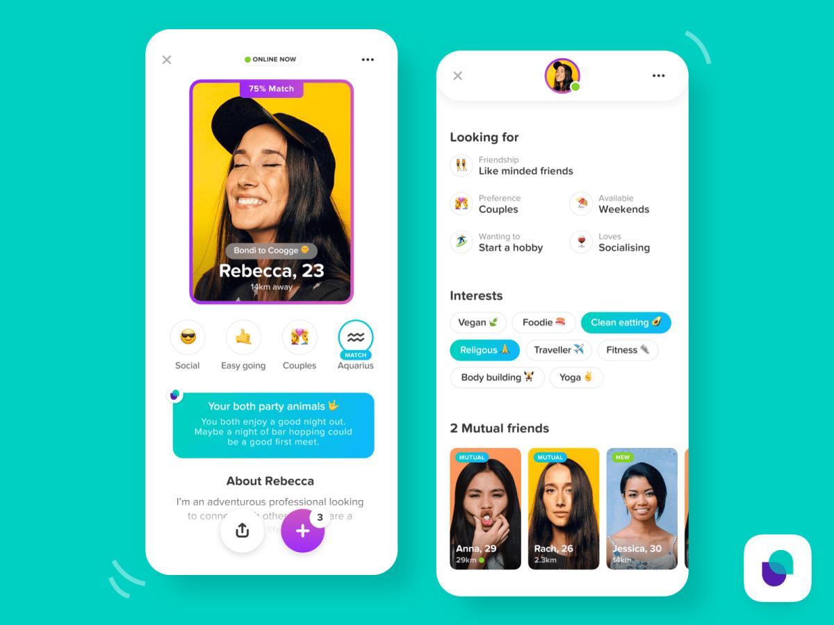 Friend Dating Profile Screen UI Design