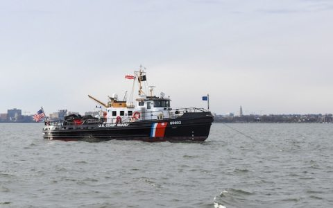 The crew of the Coast Guard Cutter Chock, homeported in Curtis Bay, Md., conducts a security patrol on the Potomac River in Washington ahead of the 2021 Presidential Inauguration, Jan. 16, 2021. On Sept. 24, 2018, the Department of Homeland Security designated the Presidential Inauguration as a recurring National Special Security Event. Events may be designated NSSEs when they warrant the full protection, incident management and counterterrorism capabilities of the Federal Government. (U.S. Coast Guard photo by Petty Officer 3rd Class Kimberly Reaves/Released)