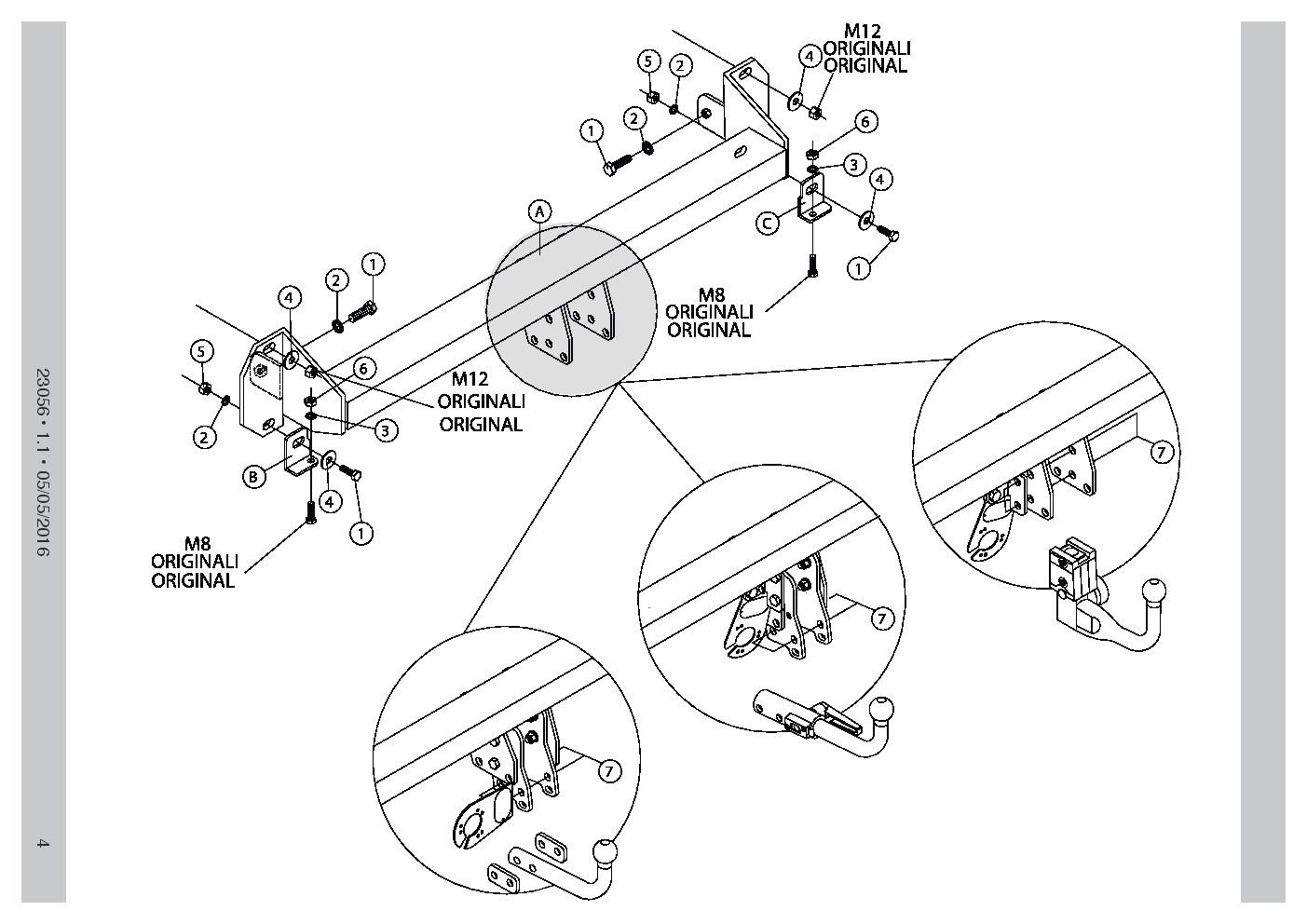 Detachable Towbar 7pin Electrics For Subaru Legacy