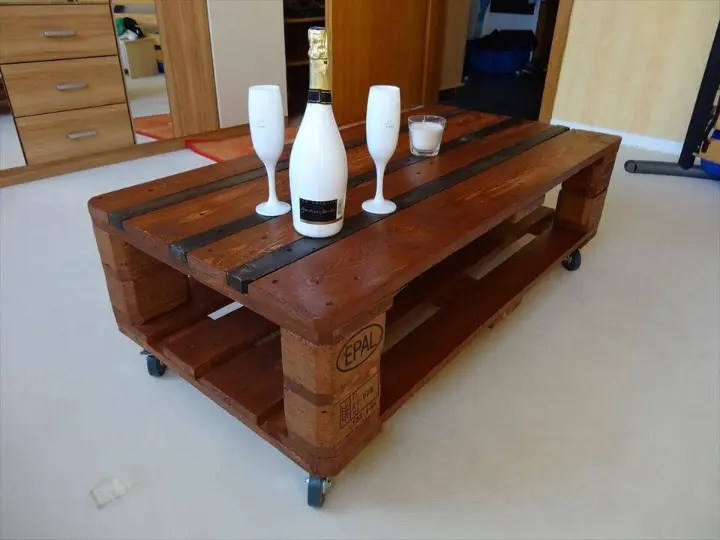 euro pallet coffee table with wheels